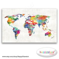 Large Custom World Map Print or Printable with by HappyPlaceArt 23x30 textured gray