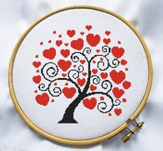 Counted cross stitch pattern, Instant Download, Free shipping, Cross-Stitch PDF, Love tree, Valentine's Day
