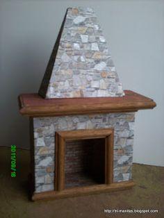 el mundo de las manualidades y la artesanía: tutorial de chimenea completo Free-standing miniature DIY fireplace - excellent images