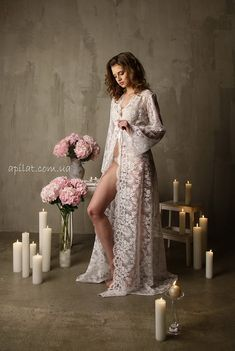 Long Lace Bridal Robe F3Lingerie Nightdress White by Alingerie
