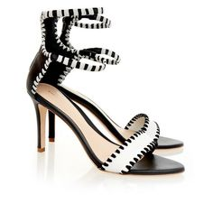 Loeffler Randall Ceci white/black ankle strap sandal ($170) ❤ liked on Polyvore featuring shoes, sandals, real leather shoes, leather footwear, leather strap sandals, leather sandals and leather strap shoes