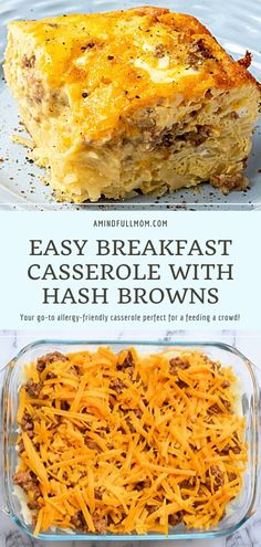 The BEST recipe for breakfast casserole ever! Easy Breakfast Casserole with Hash Browns is an easy, versatile recipe made with frozen hash browns, eggs, sausage, and cheese. This cheesy homemade recipe is perfect for entertaining at breakfast, feeds a crowd, allergy-friendly, and can be made ahead! Delicious Breakfast Recipes, Brunch Recipes, Recipes Dinner, Yummy Recipes, Hashbrown Breakfast Casserole, Hash Browns, Homemade Recipe, Real Food Recipes, Real Foods