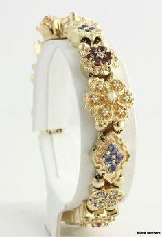 "7"" 4 39ctw Multi Gemstone Slide Charm Bracelet 14k Solid Yellow Gold Ornate   eBay"