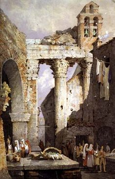 Samuel Prout: Paintings of Rome Traditional Paintings, Traditional Art, Rome, Smart Art, Amazing Buildings, Historical Art, Victorian Art, Architecture Drawings, Ancient Ruins