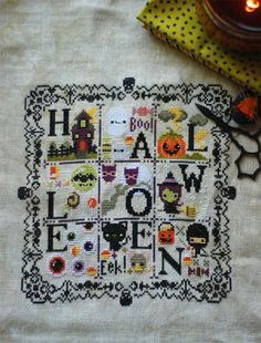Image of Halloween Spooky Sampler PDF Cross Stitch Pattern