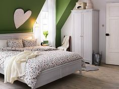 Attic Bedroom Design Ideas, Attic bedroom is known as bedroom used for guests, office room, or it can be used also for your child. The bedroom design and function of colors depend on the brightness a Room, Room Design, Traditional Bedroom, Home, Bedroom Design, Bedroom Green, Scandinavian Design Bedroom, Attic Bedroom Designs, Ikea Bedroom