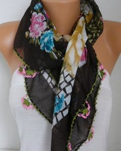Spring Floral Scarf Oya Yemeni Cotton Cowl Easter by fatwoman