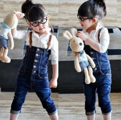 cute as hell !!! Denim Jumpsuits with braces.