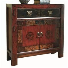 This traditional hall chest features a rich, gesso designer finish with muted antique gold painting on the top drawer and weighty, traditional hardware. It has one drawer, two doors with one adjustable shelf, and set-in side panels and off-the-floor styling.