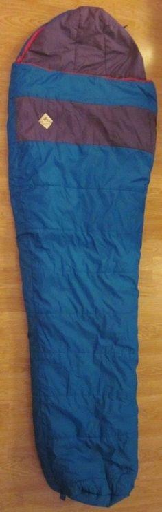 Vintage EMS Sleeping Bag Eastern Mountain Sport Turquoise Purple Mummy 90in #EasternMountainSport