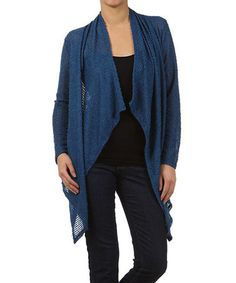 Bright Blue Loose-Knit Flyaway Sidetail Cardigan by Pretty Young Thing #zulily #zulilyfinds