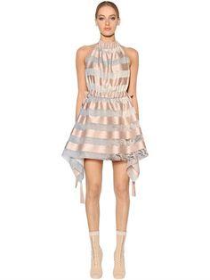 FENDI - STRIPED SATIN & ORGANZA HALTER DRESS - PINK/GREY