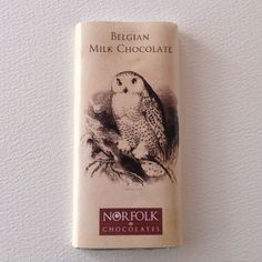 Belgian Chocolate Bar with vintage style wrapper and Snowy Owl picture. Available from #norfolkchocolates.co.uk