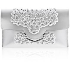 Standout silver prom clutch, stunning evening handbag, silver vegan... ($85) ❤ liked on Polyvore