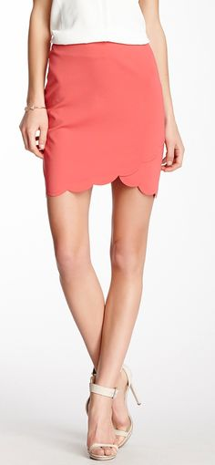 Scalloped coral skirt
