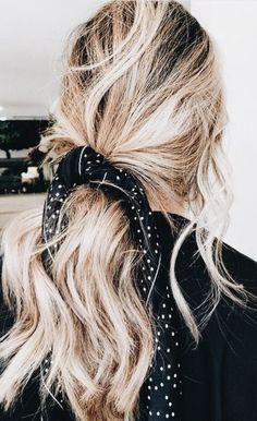 bandana hair tie | blonde balayage highlights and long hair updo ideas