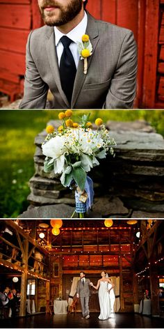 craspedia boutonniere bouquet barn wedding pictures