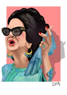 المطربة أم كلثوم Singer Umm Kulthum كاريكاتير cartoon Egyptian Actress, Egyptian Art, Tableau Pop Art, Arab Celebrities, Acrylic Artwork, Arabic Art, Creative Artwork, Aesthetic Pictures, Islamic Art