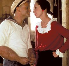 Robin Williams and Shelly Duvall in Popeye, 1980.