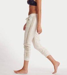 Heather Frost Aerie Cable Knit Skinny Jogger
