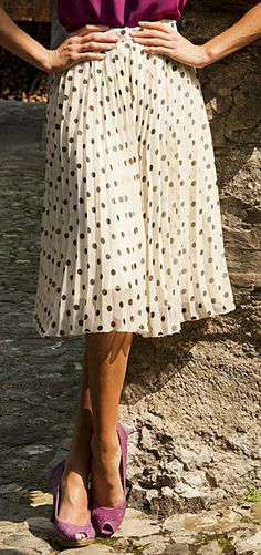 Cream & Black Polka Dot High Tea Pleated Skirt