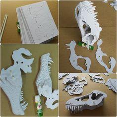 T-rex cráneo estatua bricolaje cartulina Craft por boardattack