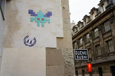 Little space invader (intruder?) street art in Space Invaders, City Art, Urban Art, Street Art, Artsy, Street