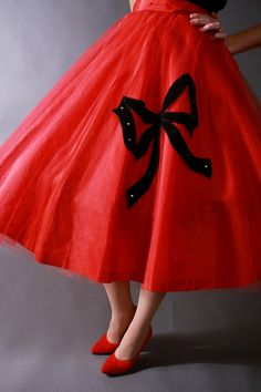 Vintage 1950s Skirt - Red Tulle Christmas Party Circle Skirt - Holiday Collection. $64.00, via Etsy.