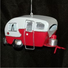 Old-Fashioned Tin Camper - Personalized Family Vacation Christmas Ornament