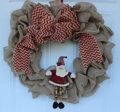 Christmas wreath, winter wreath, santa wreath, chevron wreath, door wreath, door decorations, burlap wreath, rustic wreath, Christmas decor by ritzywreaths on Etsy