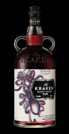 The Kraken rum 3D bottle, packaging by Stranger & Stranger. Featured on Lovely Package