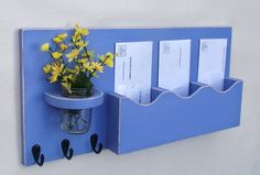 Mail Organizer - Mail And Key Holder - Key Hooks - Jar Vase - Organizer - Painted Distressed Wood - Wall Hanging