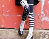 GREY Striped Black Legging - Thigh High Garter - Pippi Leggings - Polka Dot Striped Tights - MEDIUM Legging Womens Tights