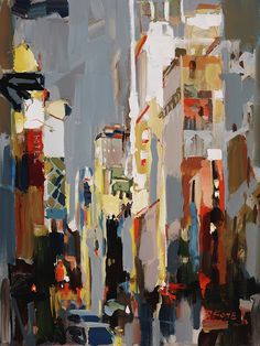 Josef Kote | Art (Another artist who uses his palette knife near exclusively to block colour ~ effective from a distance to create this cityscape! ~js)