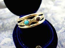 Victorian Serpent Wedding Ring 15k Gold Turquoise Garnet c1860