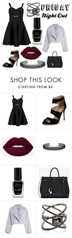 """Friday Night Out"" by piixelated ❤ liked on Polyvore featuring Boohoo, Carvela, Barry M, Yves Saint Laurent, Zimmermann and Eva Fehren"