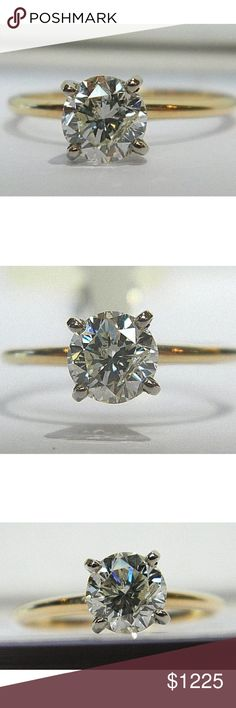 Stunning 1.01 carat 14k yellow gold diamond ring Stunning 1.01 carat 14k yellow gold diamond solitaire ring! Comes with certification! Retail over $2500!! Jewelry Rings