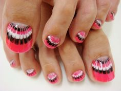 Pedicure, Toe Nail Art: pink, white, black halfmoon design