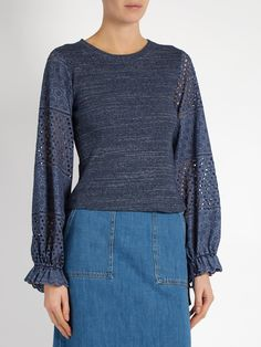 Broderie-anglaise blouson-sleeved top   See By Chloé   MATCHESFASHION.COM US