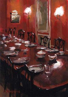 Art Print Bright Red Dining Dinner Food Table - Red Dining Room by David Lloyd Tea Art, Still Life Art, Love Art, Painting Inspiration, Painting & Drawing, Art Decor, Decoration, Art Drawings, Artsy