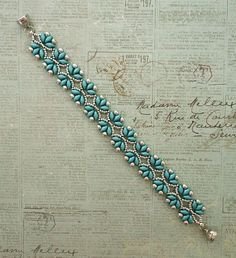 Linda's Crafty Inspirations: Bracelet of the Day: Paloma's Path - Arctic Blue & Silver Bead Jewellery, Seed Bead Jewelry, Jewelry Making Beads, Seed Beads, Beaded Bracelet Patterns, Beaded Earrings, Beading Patterns Free, Super Duo Beads, Seed Bead Bracelets