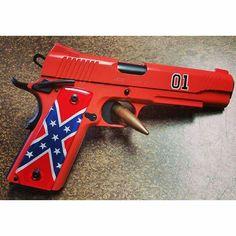 I like the dukes of Hazard! Weapons Guns, Guns And Ammo, Gta, Doomsday Survival, Dukes Of Hazard, General Lee, Gun Art, Custom Guns, Home Defense