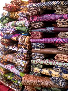 Fabrics in Senegal - I remember great high stacks of fabrics, so much fun. African Textiles, African Fabric, African Design, African Art, Senegal Africa, Casamance, African Print Fashion, African Prints, African Attire