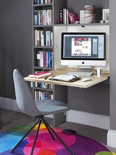 From spare bedrooms to empty corners, here's how to create a beautiful and productive home office space Small Home Offices, Desks For Small Spaces, Home Office Space, Home Office Design, Home Office Decor, Desk In Living Room, Living Room Storage, Small Living Rooms, Home And Living