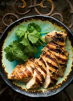 Moroccan Spiced Grilled Chicken Breasts ~ Skinless boneless chicken breasts marinated in yogurt with garlic, cumin, and paprika, then grilled. ~ SimplyRecipes.com