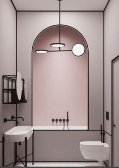 Moder, absolutely adorable pink Bathroom