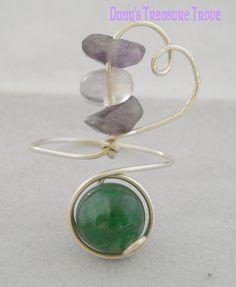 Silver Heart Ring with Aventurine Fluorite by DanusTreasureTrove, $15.00