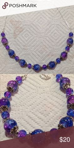 """Purple and Blue Sparkly Glass Silver Necklace This beautiful necklace is made with sparkling purple and blue duotone glass beads. It measures 16"""" long and attaches with a lobster clasp. The chain is sterling silver. All PeaceFrog jewelry items are made by me! Take a look through my boutique for coordinating pieces and more unique creations. PeaceFrog Jewelry Necklaces"""