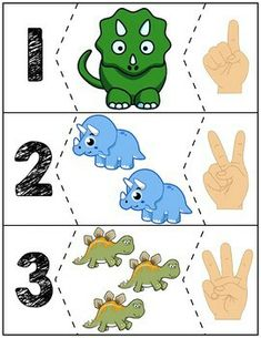 Teach counting skills with dinosuars! Great for teaching counting skills and number recognition for numbers Quick prep and great for math centers! Dinosaur Theme Preschool, Dinosaur Activities, Numbers Preschool, Dinosaur Crafts, Toddler Learning Activities, Preschool Curriculum, Preschool Lessons, Preschool Learning, Preschool Activities