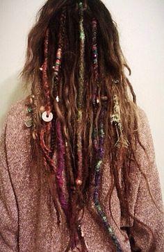 * Dread Hairstyles, Bohemian Hairstyles, Pretty Hairstyles, Dreadlocks Girl, Hippie Dreads, Hippie Hair, Wool Dreads, Hair Goals, How To Wrap Dreads